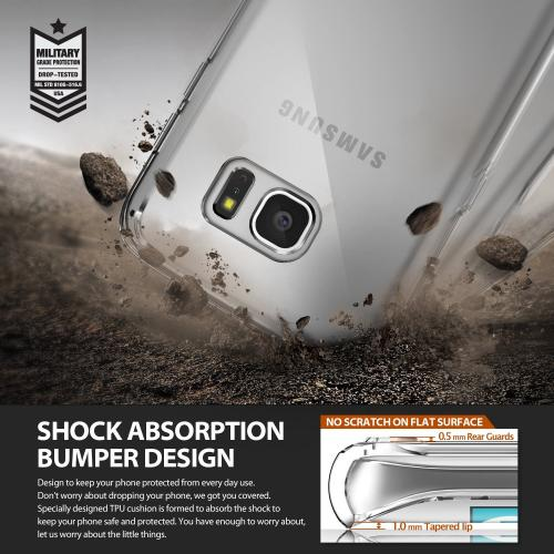 Samsung Galaxy S7 Edge Case,Ringke [Clear] FUSION Series Absorb Shock TPU Bumper Clear Case