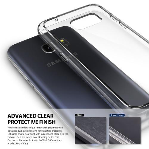 Samsung Galaxy S7 Case,Ringke [Smoke Black] FUSION series Absorb Shock TPU Bumper Clear Case