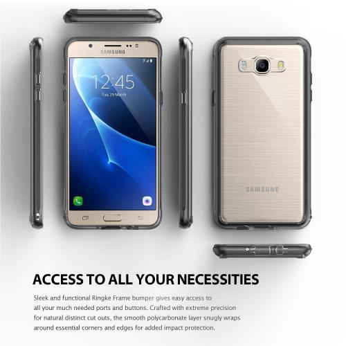 [Samsung Galaxy J7] Case, [Fusion][Smoke Black] Shock Absorption TPU Bumper Clear Hard Case