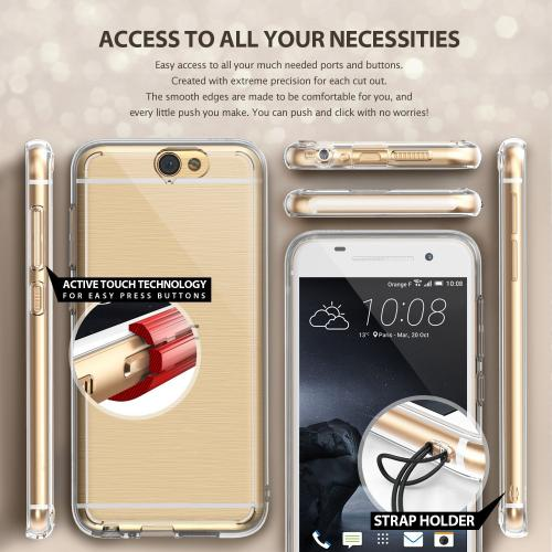 HTC One A9 Case, Ringke FUSION Series [Rose Gold Crystal] Shock Absorption Premium Clear Hard Case
