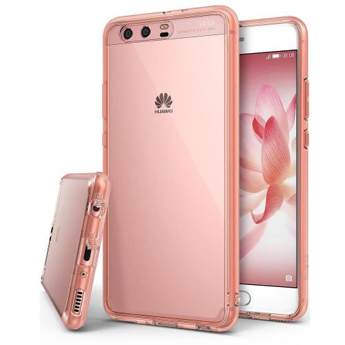 Huawei P10 Plus Case, Ringke [FUSION] Tough PC Back TPU Bumper [Drop Protection/Shock Absorption Technology][Attached Dust Cap] Raised Bezels Protective Cover For Huawei P10 Plus - Rose Gold Crystal