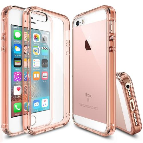 Apple iPhone SE / 5 / 5S Case, Ringke [Rose Gold] FUSION Series Crystal Clear PC Back TPU Bumper Case