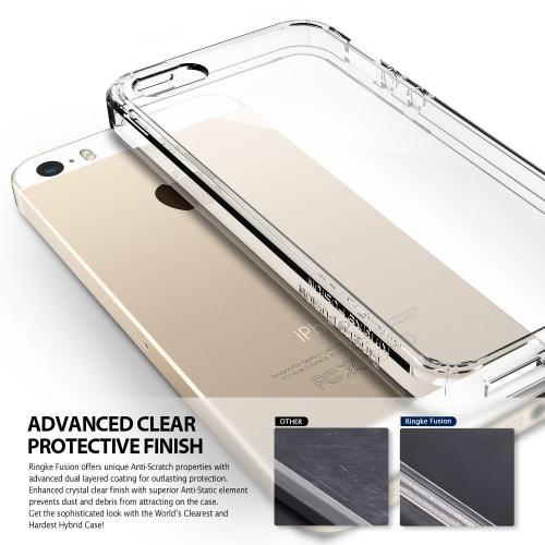 Apple iPhone SE / 5 / 5S Case, Ringke [Smoke Black] FUSION Series Crystal Clear PC Back TPU Bumper Case