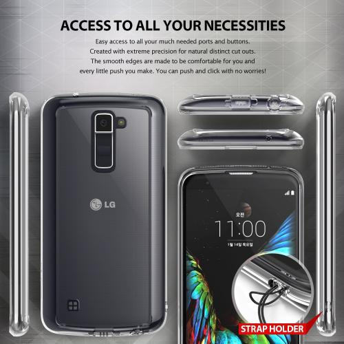 LG K10 Case, Ringke [Clear] FUSION Series Attached Dust Cap Absorb Shock TPU Bumper Clear Case