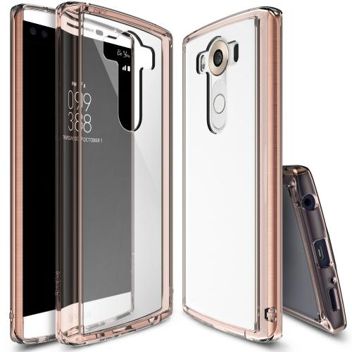 LG V10 Case, Ringke FUSION Series [Rose Gold Crystal] Shock Absorption Premium Clear Hard Case