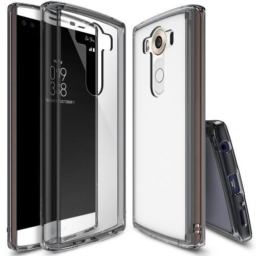 LG V10 Case, Ringke FUSION Series [Smoke Black] Shock Absorption Premium Clear Hard Case