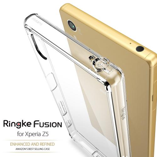 Sony Xperia Z5 Compact Case, Ringke FUSION Series [Smoke Black] Shock Absorption Premium Clear Hard Case