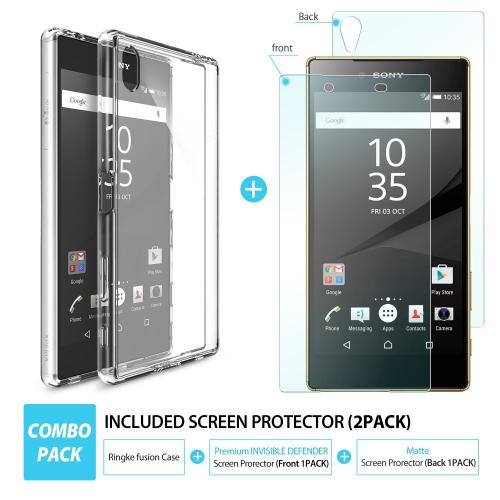 Sony Xperia Z5 Premium Case, Ringke [FUSION][Smoke Black] Absorb Shock TPU Bumper Clear Hard Case
