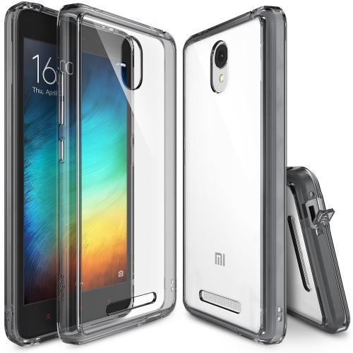 Xiaomi Redmi Note 2 Case, Ringke FUSION Series [Smoke Black] Shock Absorption Premium Clear Hard Case