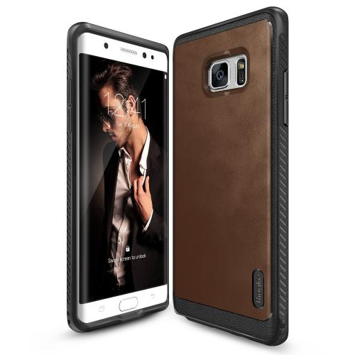 Samsung Galaxy Note 7  Case, Ringke [Brown] FLEX S SERIES Coated Textured Leather Style Flexible TPU Advanced Shock Protection Durable Sophisticated Rustic Stylish Case
