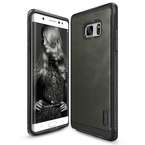 Samsung Galaxy Note 7  Case, Ringke [Gray] FLEX S SERIES Coated Textured Leather Style Flexible TPU Advanced Shock Protection Durable Sophisticated Rustic Stylish Case