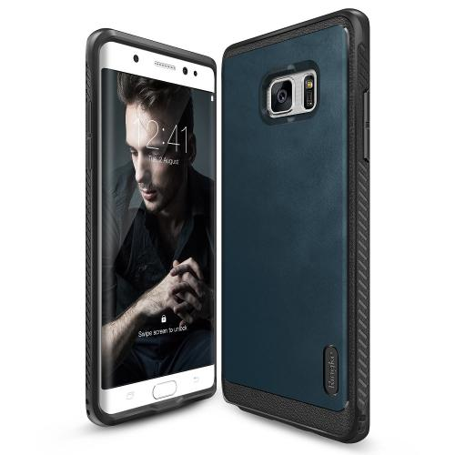 Samsung Galaxy Note 7  Case, Ringke [Deep Blue] FLEX S SERIES Coated Textured Leather Style Flexible TPU Advanced Shock Protection Durable Sophisticated Rustic Stylish Case