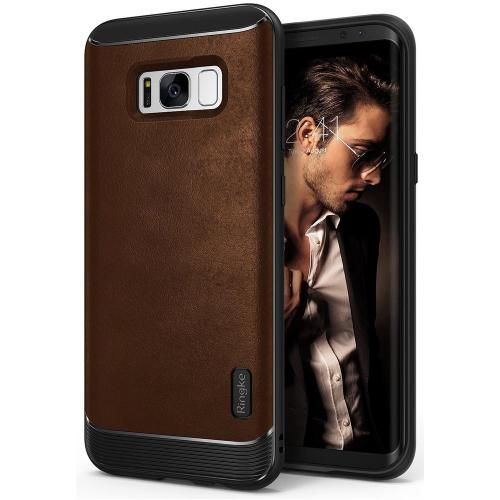 Galaxy S8 Case, Ringke [Flex S Series] Elite Coated Textured Modern Leather-Style Streamlined Anti-Fingerprint Advanced Shockproof Sophisticated Rustic Case for Samsung Galaxy S8 - Brown