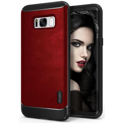 Galaxy S8 Case, Ringke [Flex S Series] Elite Coated Textured Modern Leather-Style Streamlined Anti-Fingerprint Advanced Shockproof Sophisticated Rustic Case for Samsung Galaxy S8 - Blazed Red