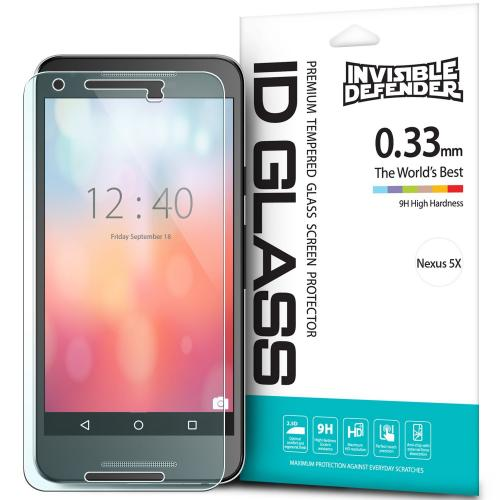 LG Google Nexus 5X Screen Protector, Ringke [Invisible Defender] Tempered Glass HD Ultra Thin Scratch Resistant, Bubble Free, Protective Screen Guard Film