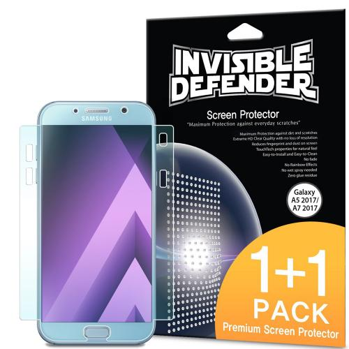 Samsung Galaxy A7 2017 Screen Protector, Invisible Defender [Full Coverage][2-Pack] Edge to Edge Curved Side Thin HD Clearness Film