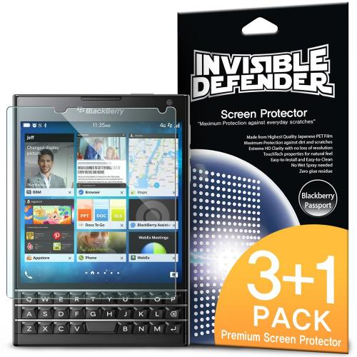Ringke Invisible Defender 4-Pack Premium HD Crystal Clear Screen Protector for Blackberry Passport