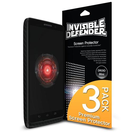 Ringke Invisible Defender 3-Pack Premium HD Crystal Clear Screen Protector for Motorola Droid Mini