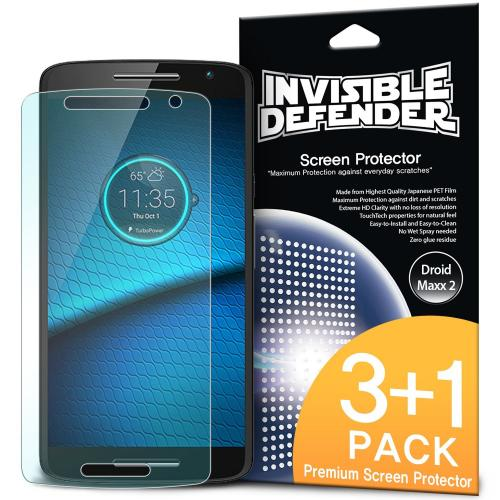 Motorola Droid Maxx 2 Screen Protector - Ringke Invisible Defender Premium HD Crystal Clear Screen Protector [3 Front+1 Back]