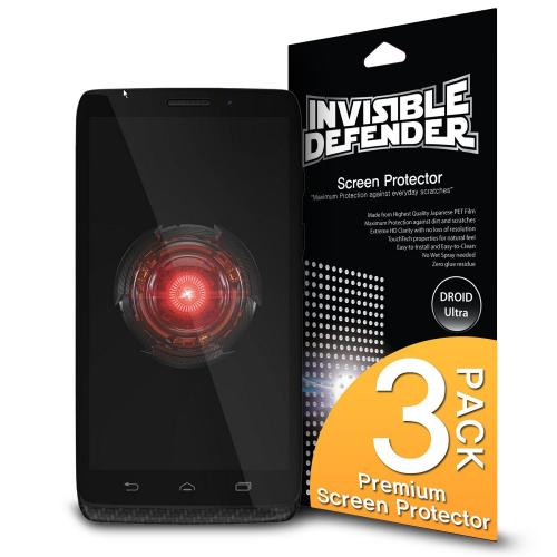 Droid Ultra Screen Protector, Invisible Defender [3 Pack] Perfect Touch Precision High Definition (hd) Clarity Film - Retail Packaging