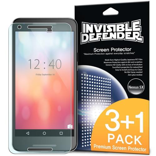 LG Google Nexus 5X Screen Protector, Ringke [Invisible Defender] HD Ultra Thin Scratch Resistant, Bubble Free, Protective Screen Guard Film 3 Front+1 Back