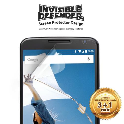 Nexus 6 Screen Protector by Invisible Defender [3 Pack + 1 Free] Featuring Perfect Touch Precision High Definition Clarity Film