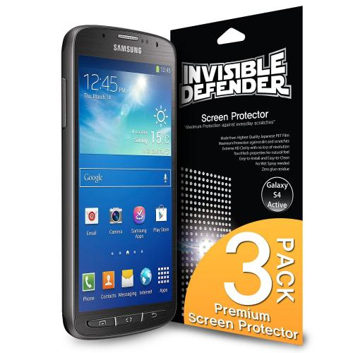 Ringke Invisible Defender 3-Pack Premium HD Crystal Clear Screen Protector for Samsung Galaxy S4 Active
