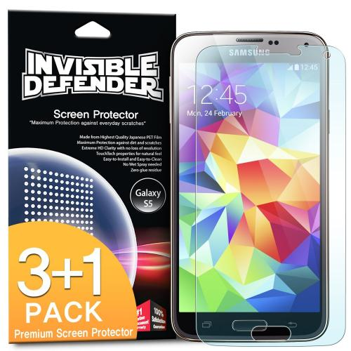 Galaxy S5 Screen Protector, Invisible Defender [3 Pack + 1 Free] Perfect Touch Precision High Definition (HD) Clarity Film - Retail Packaging