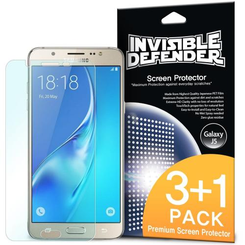 Samsung Galaxy J5 Screen Protector - Invisible Defender [3 Front+1 Back]