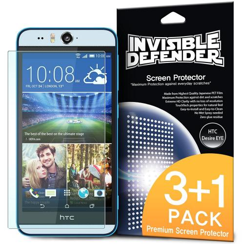 Desire EYE Screen Protector, Invisible Defender [3 Pack + 1 Free] Perfect Touch Precision High Definition (HD) Clarity Film for HTC Desire EYE - Retail Packaging