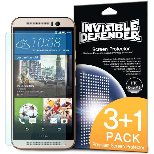 HTC One M9 Screen Protector by Invisible Defender [3 Pack + 1 Free] Featuring Perfect Touch Precision High Definition Clarity Film