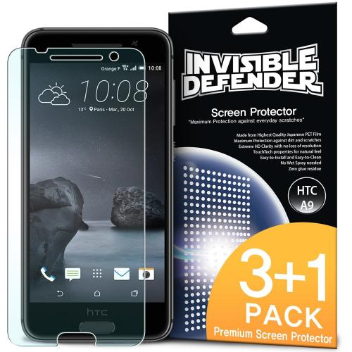 HTC One A9 Screen Protector, Ringke [Invisible Defender] Premium HD Crystal Clear Screen Protector [3 Front+1 Back]