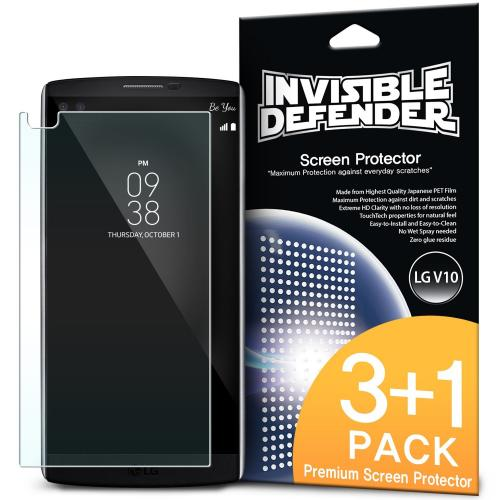 V10 Screen Protector - Ringke Invisible Defender Premium HD Crystal Clear Screen Protector For LG V10 [3 Front+1 Back]