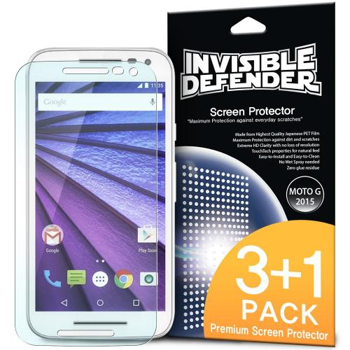 Moto G 3rd Gen Screen Protector - Ringke Invisible Defender Premium HD Crystal Clear Screen Protector For Motorola Moto G 3rd Gen 2015 [3 Front+1 Back]
