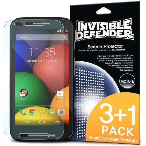 Moto E Screen Protector, Invisible Defender [3 Pack + 1 Free] Perfect Touch Precision High Definition (HD) Clarity Film for Motorola Moto E - Retail Packaging