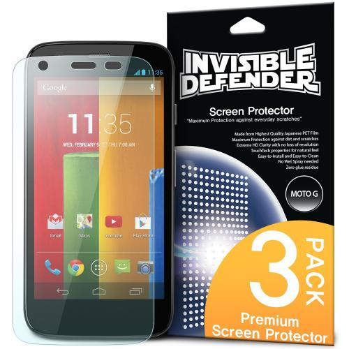 Moto G Screen Protector, Invisible Defender [3 Pack] Perfect Touch Precision High Definition (HD) Clarity Film for Motorola Moto G - Retail Packaging
