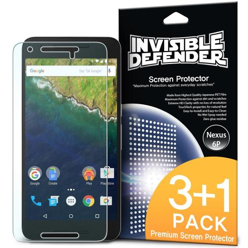 Huawei Google Nexus 6P Screen Protector, Ringke [Invisible Defender] HD Ultra Thin Scratch Resistant, Bubble Free, Protective Screen Guard Film 3 Front+1 Back