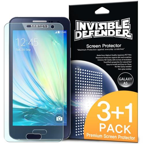 Galaxy A5 Screen Protector, Invisible Defender [3 Pack + 1 Free] Perfect Touch Precision High Definition (HD) Clarity Film - Retail Packaging