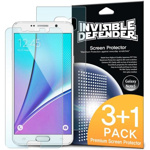 Galaxy Note 5 [Ringke Invisible Defender] Screen Protector - Premium HD Crystal Clear Screen Protector for Samsung Galaxy Note 5 [4 pack]