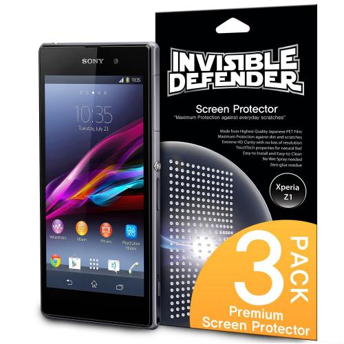Xperia Z1 Screen Protector, Invisible Defender [3 Pack] Perfect Touch Precision High Definition (hd) Clarity Film - Retail Packaging