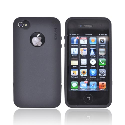 Original Rearth Apple iPhone 4S Ringke Steel Silicone Case w/ Steel Bumper, Lanyard & Screen Protector - Black
