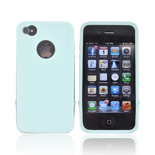 Original Rearth Apple iPhone 4S Ringke Steel Silicone Case w/ Steel Bumper, Lanyard & Screen Protector - Mint