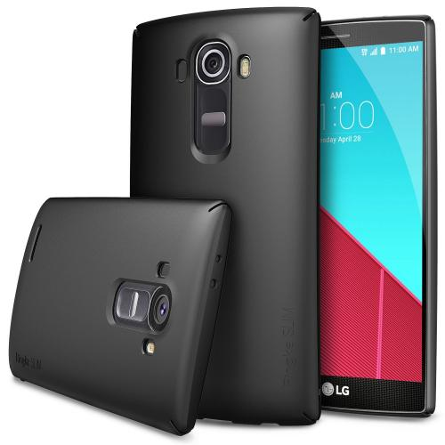 LG G4 Case, Ringke [Black] SLIM Series Dual Coating Perfect Grip Hard Case w/ Free Screen Protector
