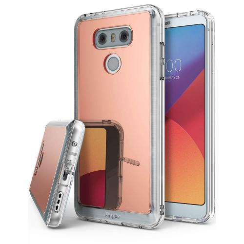 LG G6 Case, Ringke [FUSION MIRROR] Bright Reflection Radiant Luxury Mirror Case [Drop Protection / Shock Absorption Technology][Attached Dust Cap] for LG G6 - Rose Gold