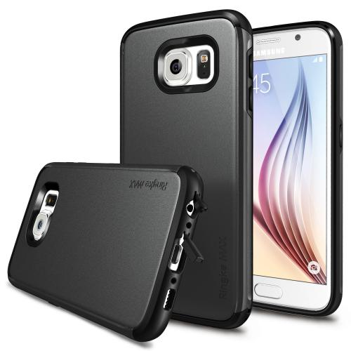 Samsung Galaxy S6 Case, Ringke [Gunmetal] MAXX Series Premium Dual Layer Protective Armor Case w/ Free Screen Protector