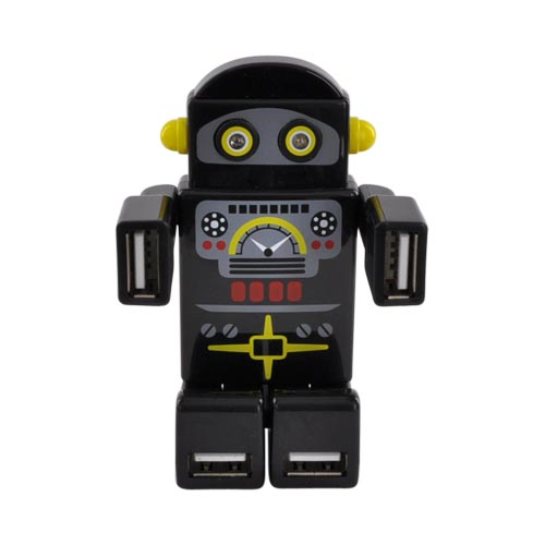 Robot USB HUB w, 4 Ports and LED Eyes (2.0 Hi-Speed) Mini USB Cable Included - Black