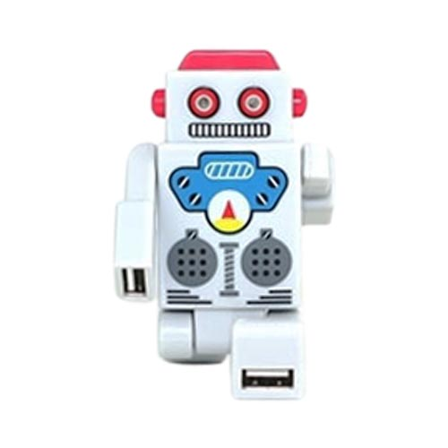 Robot USB HUB w, 4 Ports and LED Eyes (2.0 Hi-Speed) Mini USB Cable Included - White