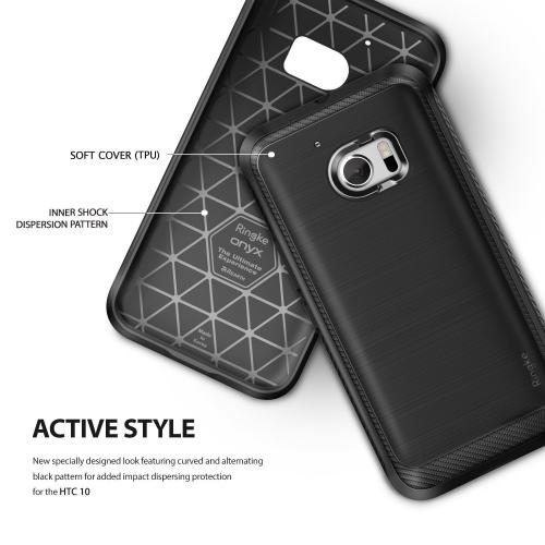 [HTC 10] Case, Ringke ONYX [Black] Durable Anti-Slip Drop Protection, TPU Defensive Case for HTC HTC 10