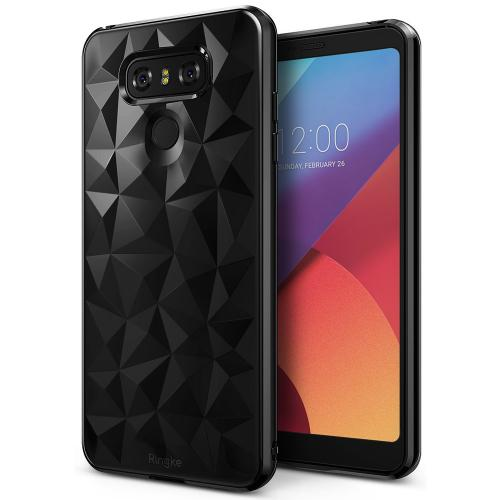 LG G6 Case, Ringke [AIR PRISM] 3D Geometric Design TPU Pyramid Pattern Textured Protective Cover - Ink Black