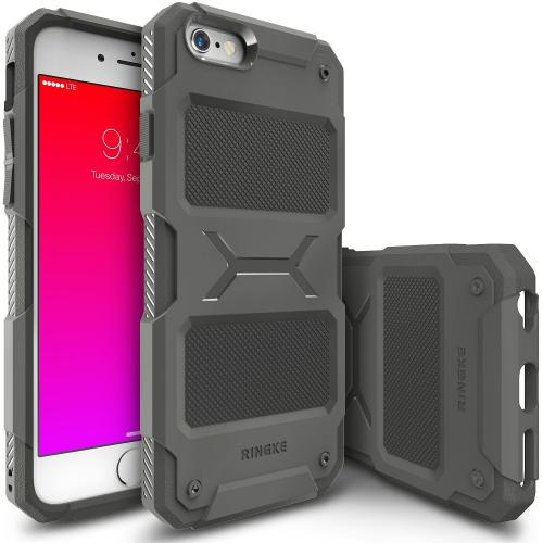 iPhone 6S Plus/ 6 Plus Case, Ringke REBEL Series [Gray] Improved Strength Flexible TPU Defensive Hybrid Case